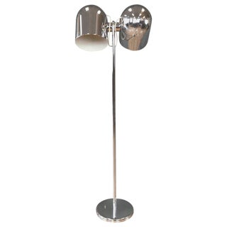 Extra Large Robert Sonneman Double Chrome Dome Floor Lamp For Sale