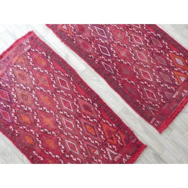 Pair Vintage Turkish Kilim Rug 1′8″ × 3′3″ For Sale - Image 4 of 8