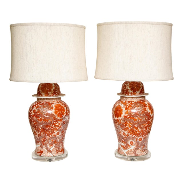 Orange and White Ceramic Lamps - A Pair For Sale