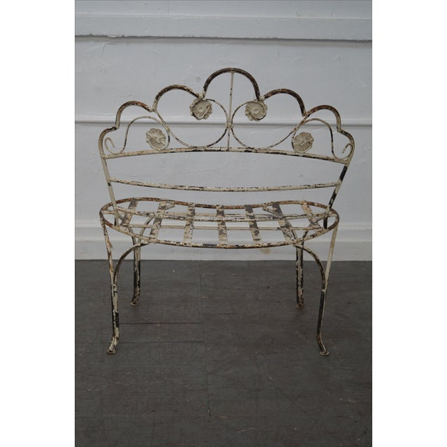 Antique French Iron Garden Patio Bench - Image 4 of 10