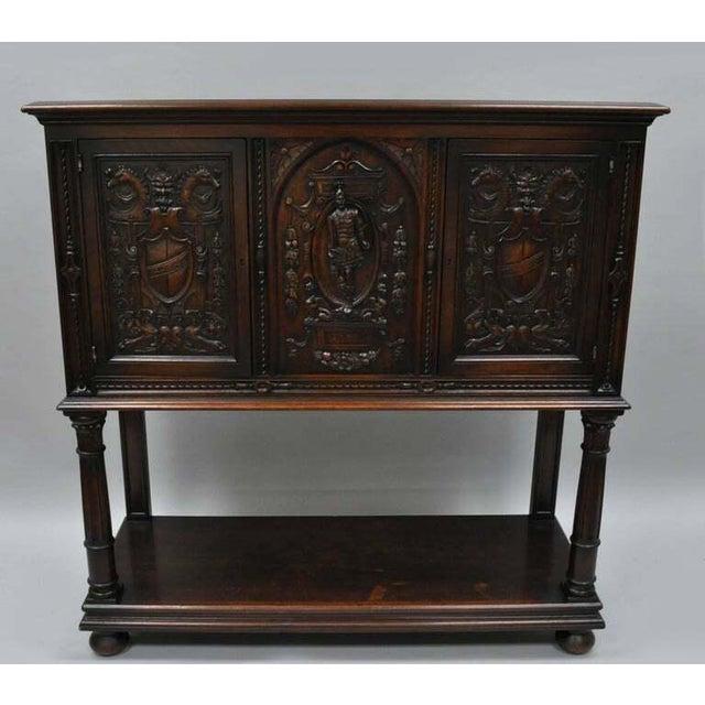 Antique Renaissance Revival Figural Carved Walnut Cabinet For Sale - Image 9 of 11