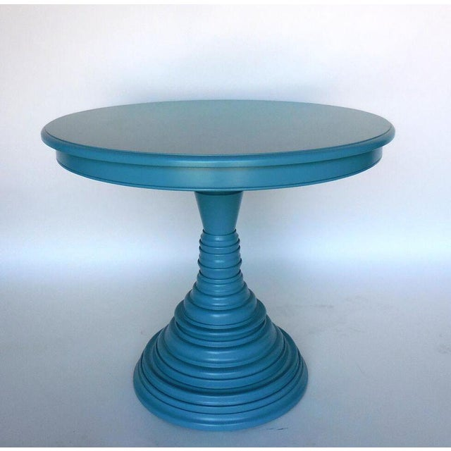 Beautiful custom walnut beehive pedestal table in blue. Can be made in any size and finish. Made in Los Angeles by Dos...