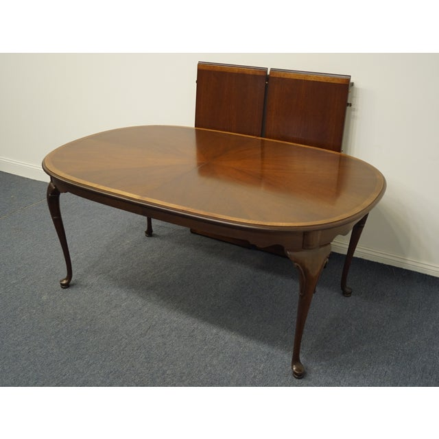 Statton Furniture Statton Furniture Banded Mahogany Dining Table For Sale - Image 4 of 11