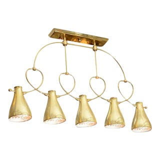Modernist Mid Century Five Light Brass Chandelier by Lightolier For Sale