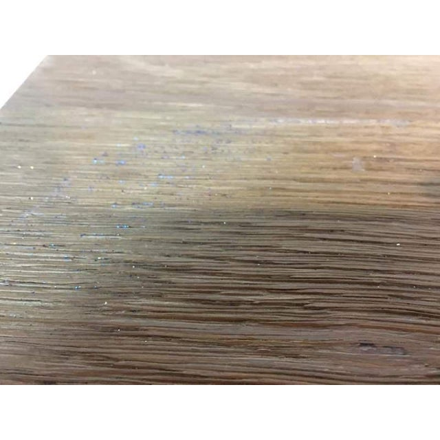 Contemporary Rustic Style Carved Oak & Metal Dining Table - Image 6 of 7