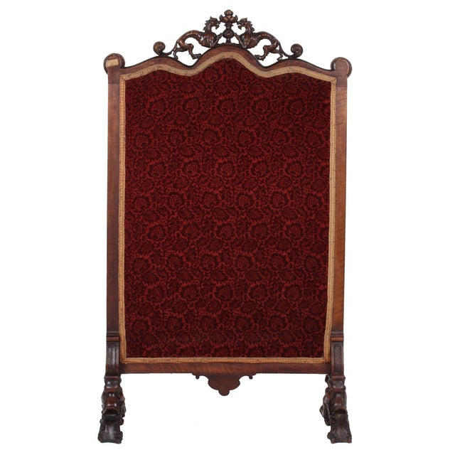 19th C. Carved Walnut Fireplace Screen With Tapestry For Sale - Image 4 of 13