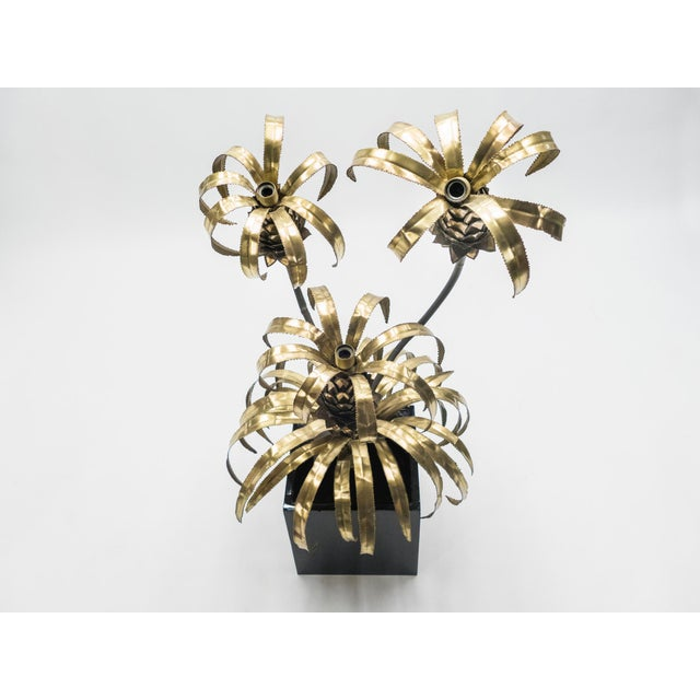 Rare Pair of Hollywood Regency Brass Maison Jansen Pineapple Floor Lamps, 1970s For Sale - Image 10 of 13