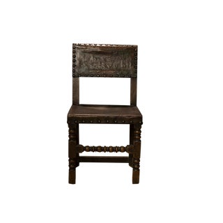 English 17th Century Oak and Leather Side Chair For Sale