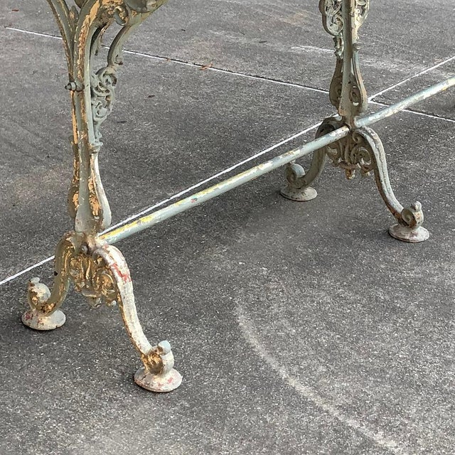 19th Century Cast Iron Marble Top Sofa Table ~ Confectioner's Table For Sale - Image 11 of 13