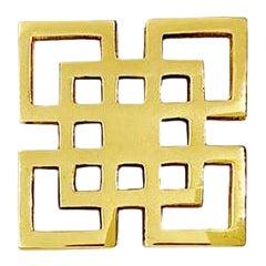 "Addison Weeks Fretwork 3"" Knob - Polished Brass For Sale"
