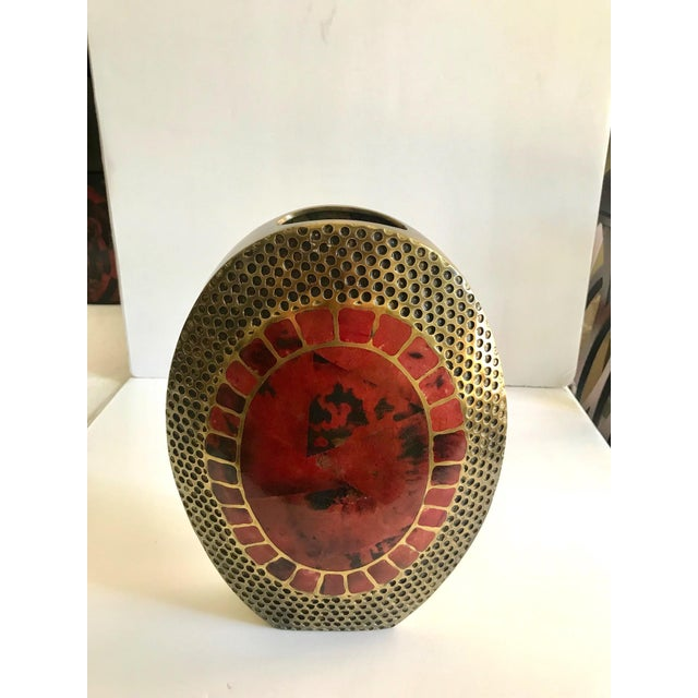 Contemporary Vintage R & Y Augousti Ovoid Vase in Solid Bronze and Exotic Mosaic Pen-Shell For Sale - Image 3 of 13
