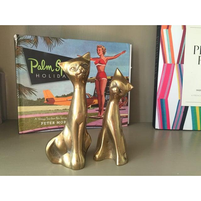 Mid-Century Modern Brass Siamese Cats - Pair - Image 3 of 4