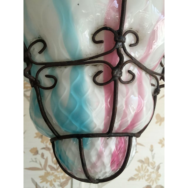 1960s Vintage Murano Caged Glass Pendant Lanterns in Pink and Turquoise For Sale - Image 10 of 12