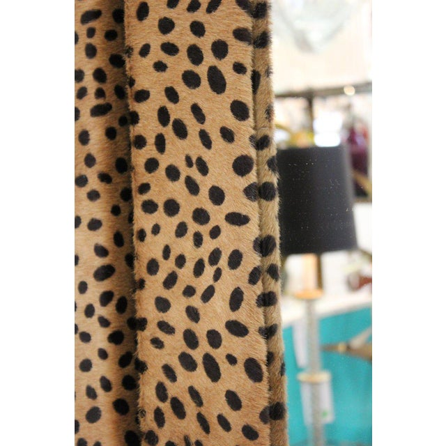 Custom Made Mid Century Modern Faux Leopard Leather Frame Mirrors - a Pair For Sale In New York - Image 6 of 7