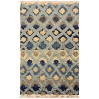 Contemporary Moroccan High-Low Pile Gioia Blue Wool Rug - 2′1″ × 3′6″ For Sale