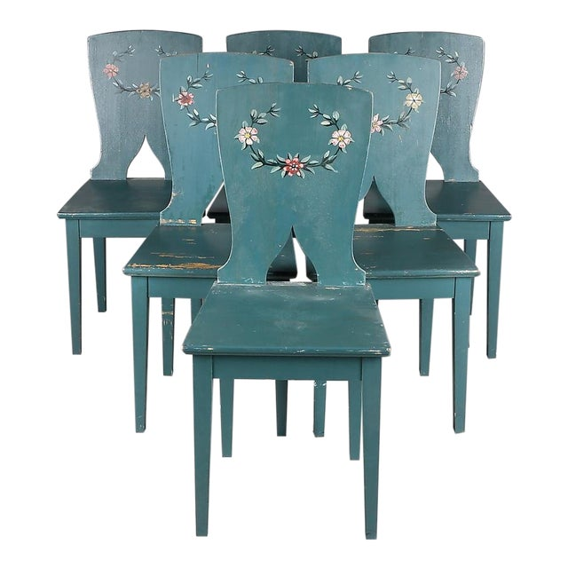 1900s Swedish Painted Kitchen Chairs - Set of 6 For Sale