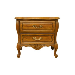 20th Century French Provincial Hickory Manufacturing Bombay 2-Drawer Nightstand With White Marble Top For Sale