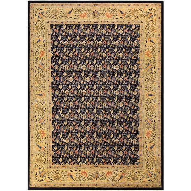 "Kafkaz Peshawar Betsy Blue & Gold Wool Rug - 9'10"" x 13'6"" For Sale"