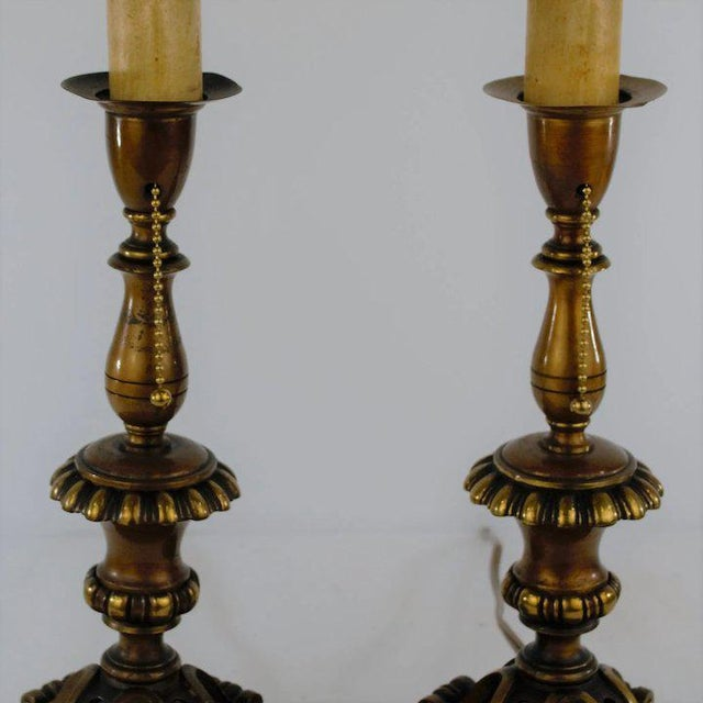 Traditional Footed Brass Candlestick Table Lamps For Sale - Image 3 of 7
