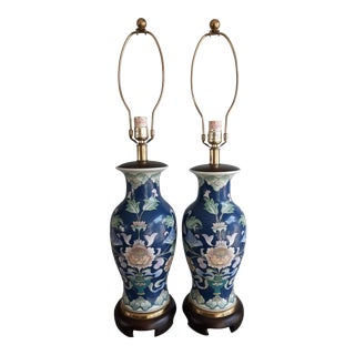 Fredrick Cooper Hollywood Regency Painted Floral Table Lamps - a Pair For Sale