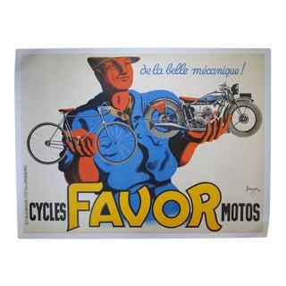 1937 Cycles Favor Motos Advertising Poster