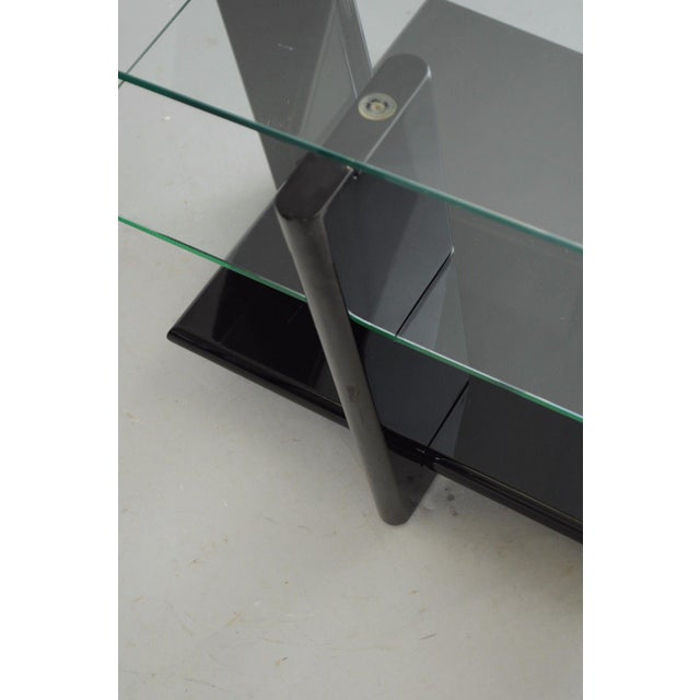 Pair of Contemporary Modern Black Lacquer & Glass 3 Tier End Tables Sculptural For Sale - Image 9 of 11