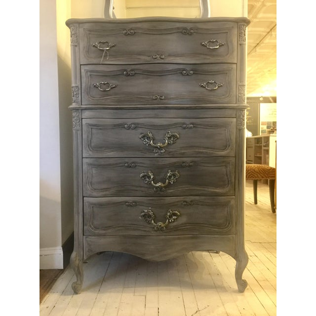 French Louis XV Style Tall Chalk Painted Dresser - Image 2 of 4
