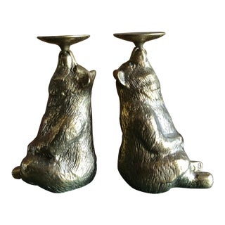 Vintage Brass Bear Candleholders Bookends Grizzly Woodland Animal For Sale