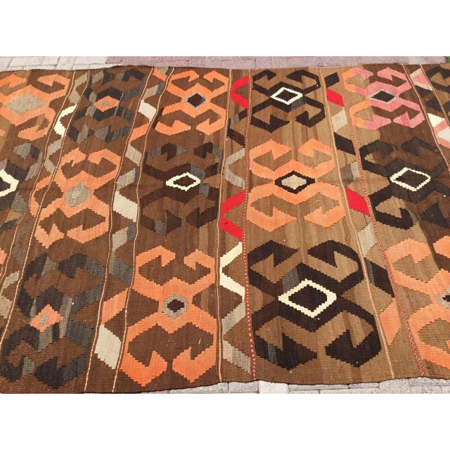 Boho Chic Vintage Brown Turkish Kilim Rug For Sale - Image 3 of 10