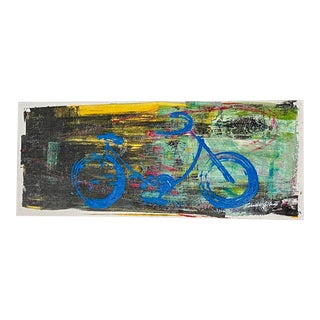 Contemporary Mexican Street Art Pop Blue Bicycle Abstract For Sale