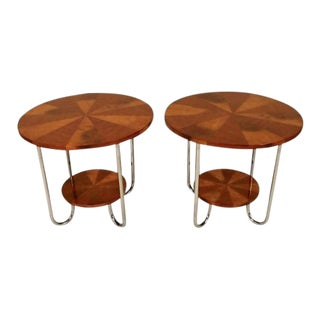Art Deco Curly and Tiger Maple Side Tables - a Pair For Sale