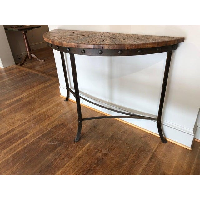 2010s Modern Wrought Iron and Repurposed Oak Console Table For Sale - Image 5 of 7