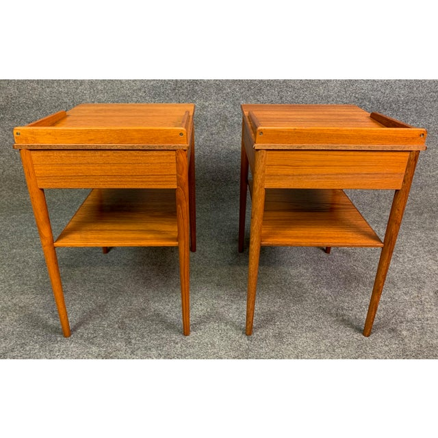 Mid-Century Modern Pair of Vintage Danish Mid Century Modern Teak Side Tables by Erik Andersson For Sale - Image 3 of 10