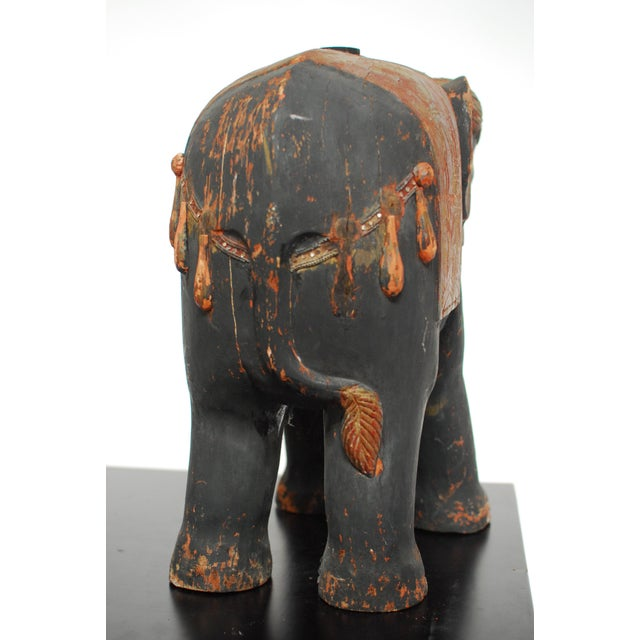Antique Polychrome Carved Wood Elephant - Image 6 of 6