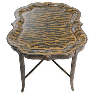 Late 20th Century Maitland Smith Hand-Painted Tiger Print Coffee Table For Sale