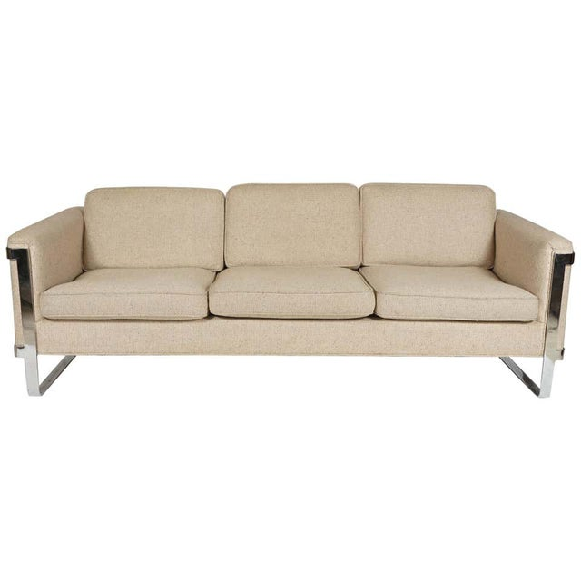 Excellent Neutral Floating Steel Frame Milo Baughman Style Mid-Century Modern 1970s Sofa For Sale - Image 12 of 12