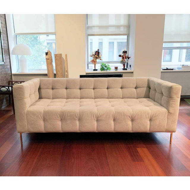"Custom made ModShop Delano sofa camel colored ultra suede tufted upholstery. Sleek 7"" brass legs. Seat height: 18"" Seat..."