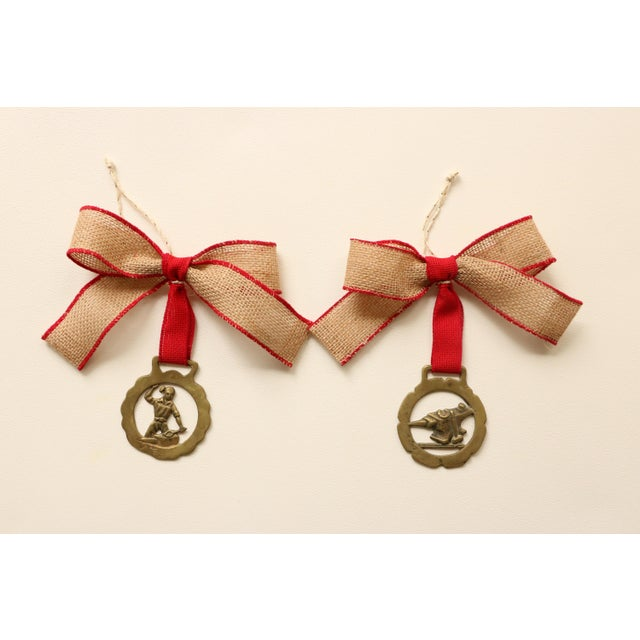 English Traditional English Brass Horse Medallion Ornaments, S/6 For Sale - Image 3 of 5
