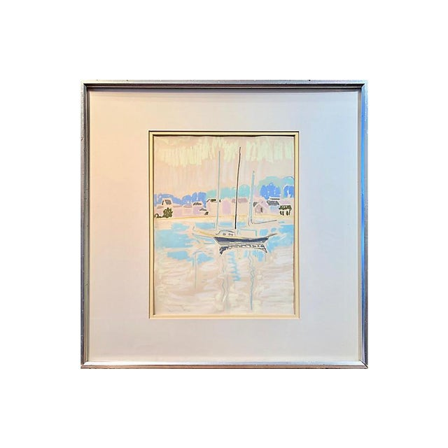 Midcentury pastel drawing of a shimmering ocean and a small sailboat moored off a verdant coastline with a view towards...