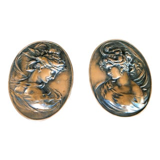 Victorian Woman Silhouette Bronze Cameos - a Pair For Sale