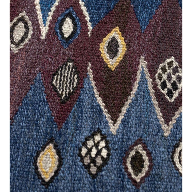 Mid-Century Handwoven Signed Swedish Wool Rug For Sale In Los Angeles - Image 6 of 8