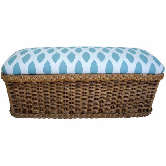 Vintage Upholstered Wicker Bench - Image 1 of 5