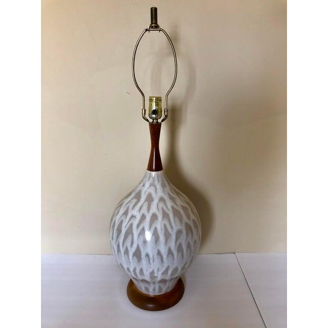 Mid 20th Century Mid Century Danish Pottery Teak Table Lamp For Sale - Image 5 of 5
