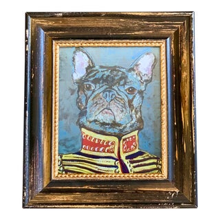 """French Bulldog Print by Contemporary Artist Judy Henn """"Military Frenchie"""" For Sale"""