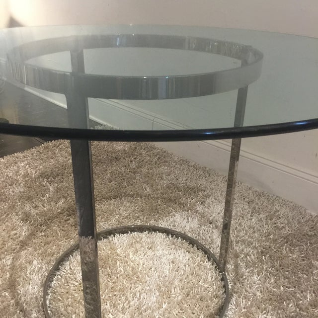 Milo Baughman for d.i.a. Glass Top Chrome Table For Sale In San Antonio - Image 6 of 9