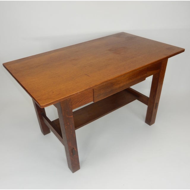 Charles Limbert Antique Signed Charles Limbert Mission Oak Library Table/ Desk For Sale - Image 4 of 13