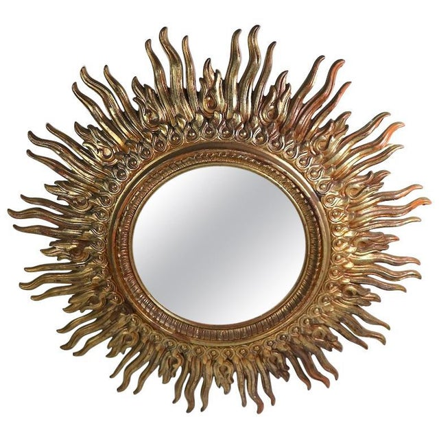 Large Decorative Sunburst Starburst Mirror With Cast Plastic Frame For Sale - Image 11 of 11