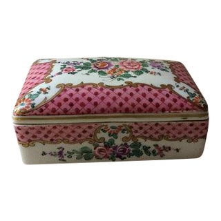 Antique French Porcelain Covered Box For Sale