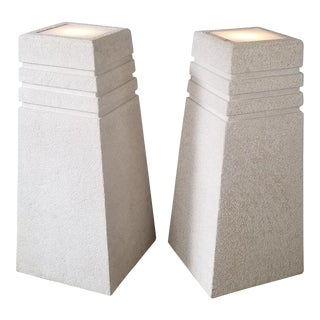 Vintage Postmodern Plastered Wood Illuminated Pedestals. - a Pair For Sale