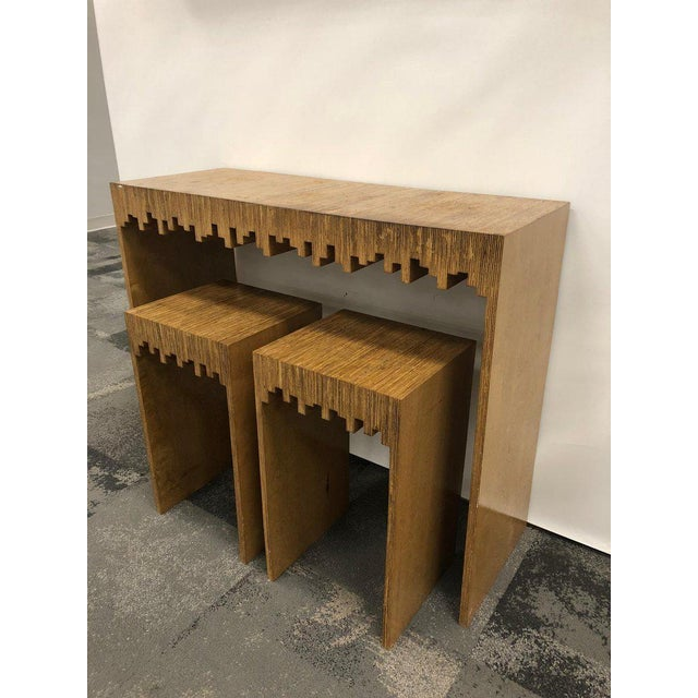 Boho Chic Modern Console Table and Drink Tables / Stools Set For Sale - Image 3 of 7